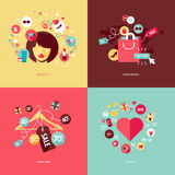 Flat design concept icons for beauty and shopping Stock Image