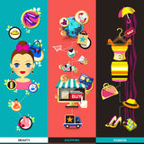Flat design concept icons for beauty and shopping Vector Illustration
