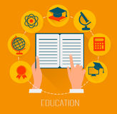 Flat design concept icons for education. E-learning concept. Stock Photography