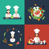 Flat design concept icons of kitchen utensils with. A chefs. Cooking tools and kitchenware equipment, serve meals and food preparation elements. Icons for Stock Photography