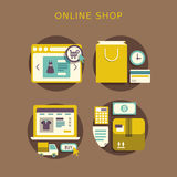 Flat design concept with icons of online shop ideas symbol and s Royalty Free Stock Photography