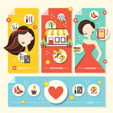 Flat design concept illustration for beauty and shopping Stock Photography
