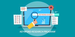 Flat design concept of keyword research program, search engine optimization. Modern concept of keyword research program, seo, marketing, search optimization vector illustration