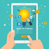 Flat design concept learnning about creative thinking online wit. H hand hold tablet. Vector illustrate Stock Images