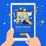 Flat design concept learnning about graphic desig online with ha. Nd hold tablet. Vector illustrate Royalty Free Stock Photography
