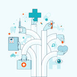 Flat design concept on medicine theme Stock Photos