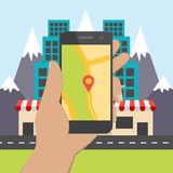 Flat design concept for mobile GPS navigation. Stock Photo