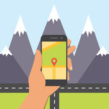 Flat design concept for mobile GPS navigation. Royalty Free Stock Photography