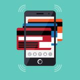 Flat design concept of mobile payment process Royalty Free Stock Images