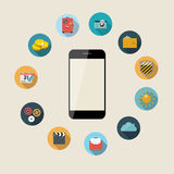 Flat Design Concept Mobile Phone Apps Vector Stock Photography