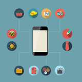 Flat Design Concept Mobile Phone Apps Vector Royalty Free Stock Photos