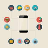 Flat Design Concept Mobile Phone Apps Vector Royalty Free Stock Images