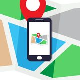 Flat design concept for mobile phone pin map location navigation royalty free illustration