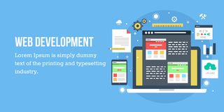 Web development concept. Flat web banner. Royalty Free Stock Photography