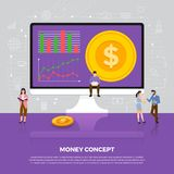 Flat design concept money business. Group people development ico. N coin money. Vector illustrate Stock Photo