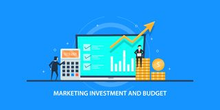 Free Flat Design Concept Of Marketing Investment, Business Adverting Budget, Branding Campaign. Royalty Free Stock Images - 130049659