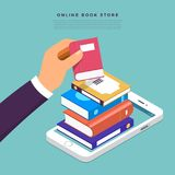 Flat design concept online books store. Hand pick book from inte. Rnet device. Vector illustrate Royalty Free Stock Photography