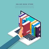 Flat design concept online books store. Hand pick book from inte. Rnet device. Vector illustrate Stock Photo