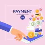 Flat design concept online payment with click on mobile. Vector. Illustrate Stock Image