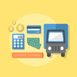 Flat design concept of payment methods. Flat design style concept of payment methods Royalty Free Stock Photo