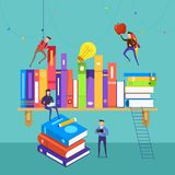Flat design concept people teamwork develop knowledge on books a. Nd shelf. Vector illustrate Royalty Free Stock Photo