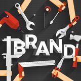 Flat design concept people working for building text BRAND. Vector illustration. vector illustration