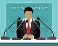 Flat design concept of press conference with a speaker. Vector illustration of faceless man with microphones speaking to press. Stock Photo