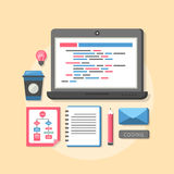 Flat design concept of process web page coding Stock Image