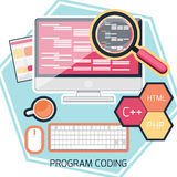 Flat design concept of program coding Stock Image