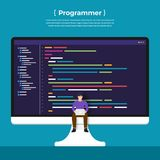 Flat design concept programmer coding program. Vector illustrate