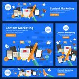 Flat design concept promote business digital marketing topic about communication. Vector illustration. Royalty Free Stock Photography