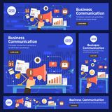 Flat design concept promote business digital marketing topic about communication. Vector illustration. Royalty Free Stock Photos