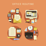 Flat design concept of routine office Stock Photo