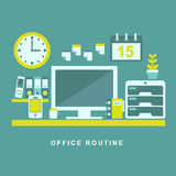 Flat design concept of routine office Royalty Free Stock Photos