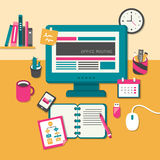 Flat design concept of routine office Royalty Free Stock Photo