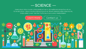 Flat design concept of science. Horizontal banner with scientist laboratory workplace. Scientific research experiment. Infographics template design, web header stock illustration