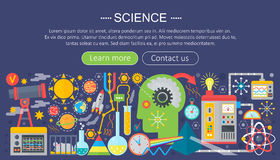 Flat design concept of science. Horizontal banner with scientist workplaces. Scientific research experiment infographics. Template design, web header icons Stock Images