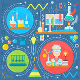 Flat design concept of science and technology. Scientific Research, Chemical Experiment infographics concept design, web. Elements, poster banners. Vector royalty free illustration