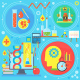 Flat design concept of science and technology. Scientific Research, Chemical Experiment infographics concept design, web. Elements, poster banners. Vector Royalty Free Stock Images