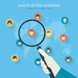 Flat design concept of search of the candidate Royalty Free Stock Photo