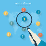 Flat design concept of search of ideas Stock Photos