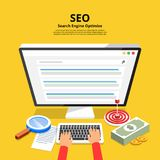 Flat design concept SEO (search engine optimize). Vector illustr vector illustration