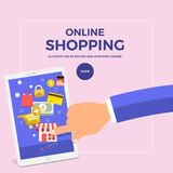 Flat design concept shopping online with finger push mobile. Vec. Tor illustrate Stock Photos