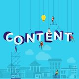 """Flat design concept small people working typography word """"CONTENT"""". Vector illustrate. stock illustration"""