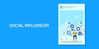 Flat design concept of social media influencer, content marketing. vector illustration