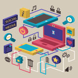 Flat design concept of social media Royalty Free Stock Photo