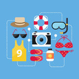 Flat Design Concept Summer Accessories and Summer Icons Vectors Royalty Free Stock Photography