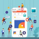 Flat design concept team working for building social media appli. Cation on mobile. Vector illustrate Royalty Free Stock Photos