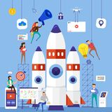 Flat design concept team working for building startup company wi. Th rocket. Vector illustrate royalty free illustration
