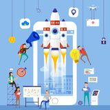 Flat design concept team working for building startup company wi. Th rocket on mobile. Vector illustrate stock illustration